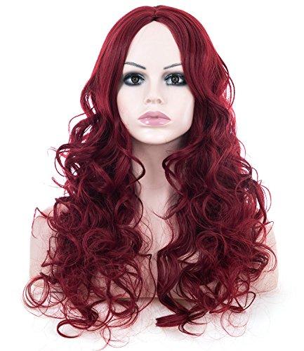 Preisvergleich Produktbild Spretty Perücke Charmante flauschige Wein Rot lange lockige synthetische Perücken für Frauen Cosplay Kostüm Partei keine Pony