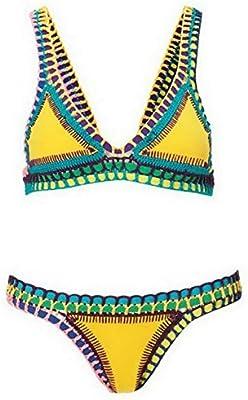 YARBAR Atractivo de las Mujeres Color Mezclado Bikini Sujetador Triangl Neopreno Traje de Baño de Ganchillo