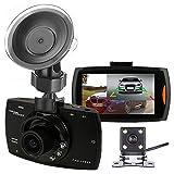 podofo Dashcam 1080P Full HD, Dual-Kamera für Autos, Fahr-Rekorder, DVR, mit Rückfahrkamera, Loopfunktion, Schwerkraftsensor, Nachtsicht (schwarz)