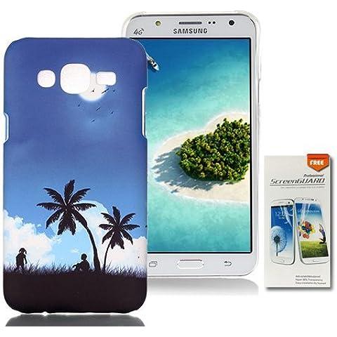 OuDu Custodia Rigide per Samsung Galaxy J5 Cover Protettiva Ultra Slim Hard Case Bumper Custodia Sottile Leggero Cover Liscio Cassa Anti Graffio Caso Anti Scossa - Notte d'Estate (Regalo:1 Pellicole protettive)