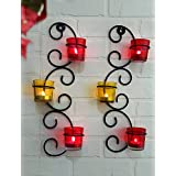 JaipurCrafts Set Of 2 Wall Sconces 39.37cm Long With 6 Glass Cup Candle Holders And Bonus Tealight Candles