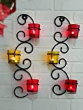 #10: JaipurCrafts Set of 2 Wall sconces 39.37cm long with 6 Glass Cup Candle Holders and bonus Tealight Candles