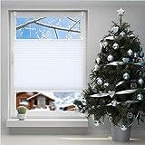 SBARTAR Plissee Jalousie Klemmfix ohne Bohren für Fenster Tür verspannt Rollo 115x120 cm Weiß inkl. Klemmträger Blickdicht Sicht- & Sonnenschutz, Rollo Stoff Sonnenschutz Einfach Montage