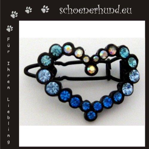 Artikelbild: Haarschmuck für Hunde mit funkelnden Strass - Exklusive Haarspange von Dogs Stars - Herz blau