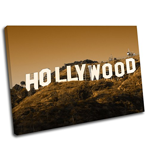 Canvas Culture – Hollywood Zeichen Stadtbild Leinwandbild, Orange, 90 x 60 cm