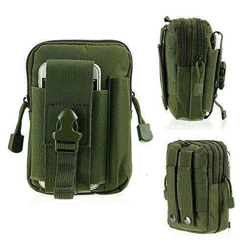 HWZ Tactical Molle EDC Pouch 1000D Multipurpose Utility Gadget Belt Waist Bag with Cell Phone Holder (Green) -