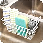 Zollyss Sink Shelf Organizer Soap Sponge Drain Stand Rack Towel Shelves Holder Cupboard White Draining Storage Basket
