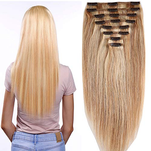 40cm-55cm Clip in Extensions Set 100% Remy Echthaar 8 Teilig 130g-160g Haarverlängerung dick Dopplet Tressen Clip-In Hair Extension ( 50cm-150g, Nr.18/613 Light Aschblond/Weißblond) (Clip Hair Extensions)