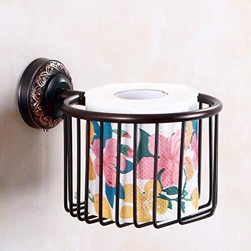 Vintage Toilettenpapierhalter Wand Papierrollenhalter Messing Klorollenhalter Schwarz Öl Rubbed Bronze Finished chlafzimmerpapier Handtuchhalter Badzubehör,Blacktissuebasket