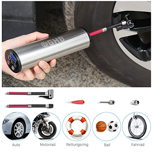 GHB Mini Auto-Luftpumpe Elektrischer Luftverdichter für Fahrrad Ball Ballon 150 PSI Portabel Aufladbar mit LCD-Display (Verpackung MEHRWEG) -