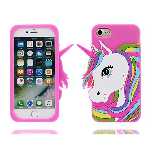 iPhone 7 Custodia, Scratch Shockproof TPU Nuovo design durevole Prezzo basso in case 3D Copertura Unicorno per iPhone 7 ( rosa 2 ) [ iPhone 7 4.7 ] rosa 2