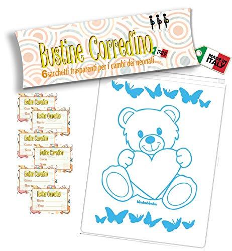 Bimbobimba 6 Bustine per il Corredino del Neonato – Sacchetti, Buste Ospedale 6pz Trasparenti Chiusura con Cursore Ermetico, per Nascita, PortaCorredino, Idea Regalo (AZZURRO)