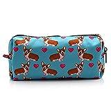 LParkin Corgi Dogs Students Super Large Capacity Canvas Pencil Case Pen Bag Pouch Stationary Case Makeup Cosmetic Bag (Blue)