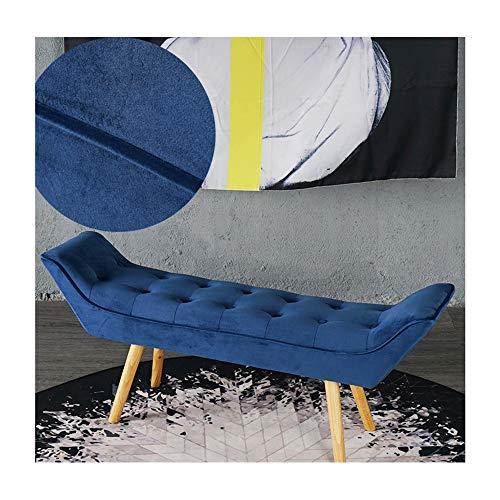 HongTeng Nordic Bett Ende Hocker Schlafzimmer Stoff Sofa Bank Änderung Schuhe Bank Lange Bank in die Tür, um Schuhe Bank Fußhocker Massivholz zu tragen (Color : Blue) -