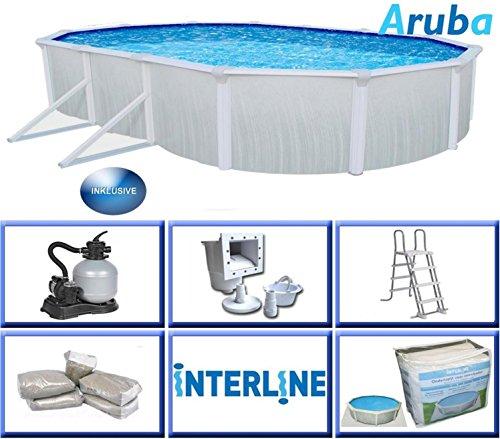 Interline 53130025Aruba Oval Schwimmbad inkl. Zubehör, mehrfarbig, 7,3x 3,6m
