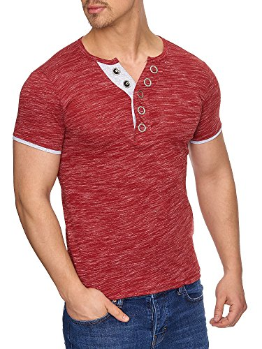 Tazzio Herren Rundkragen T-Shirt mit Melange Muster T-Shirt 16180 Bordo