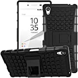 Sony Xperia Z5 Premium 2015 Phone Case - MoKo Heavy Duty Rugged Dual Layer Armor with Kickstand Protective Cover for Sony Xperia Z5 Premium 5.5 Inch Smartphone 2015 Edition, BLACK