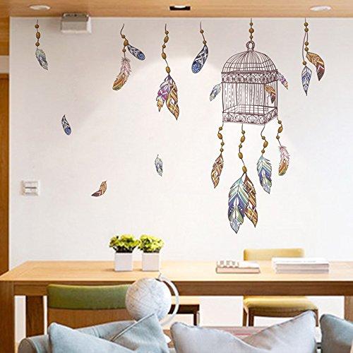 Pegatina pared vinilo decorativo jaula atrapasueños y plumas para salon dormitorios hall escaleras de CHIPYHOME