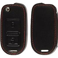 PhoneNatic Echtleder Classic Schlüssel Hülle für die VW 2-Tasten Fernbedienung in schwarz Klappschlüssel 2-Key