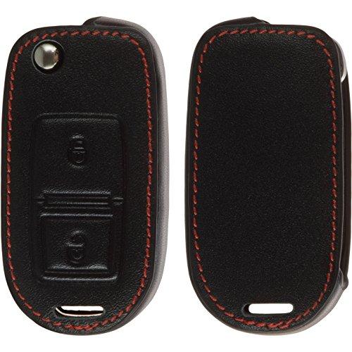 PhoneNatic Echtleder Classic Schlüssel Hülle kompatibel mit der VW 2-Tasten Fernbedienung in schwarz Klappschlüssel 2-Key 2. Leder