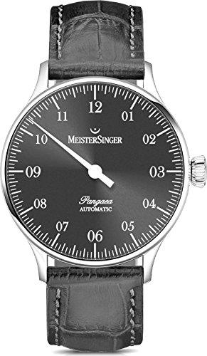 Meistersinger Pangaea PM907 - Reloj de Pulsera para Hombre (Esfera analógica y Gris, 40 mm, con Cristales de Zafiro Resistentes a los arañazos, Correa de Piel Gris, Reloj clásico Suizo Hombres)