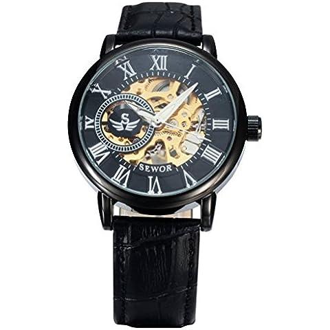 pkaty Vintage Steampunk in pelle da uomo, con scheletro mano vento meccanico orologio da polso wristwatches-black