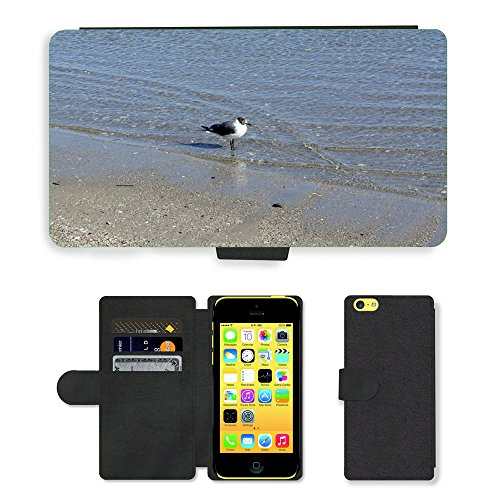 Just Mobile pour Hot Style Téléphone portable étui portefeuille en cuir PU avec fente pour carte/Océan/m00140034Seagull Bird Eau Lonely//Apple iPhone 5C