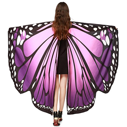 m, HLHN Damen Schmetterling Flügel Nymphe Pixie Poncho Kostüm Zubehör für Show / Daily / Party (Lila) (Schmetterling Kostüm)