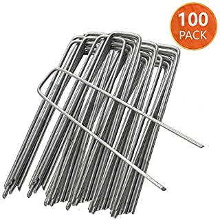 ANSIO Garden Pegs Stakes Staples Securing Lawn U Shaped Nail Pins Ideal for Weed Control Membrane/Fabric/Artifical Grass/Matting/Netting Galvanised Ground Pegs 150mm/6 Inch Pack of 100