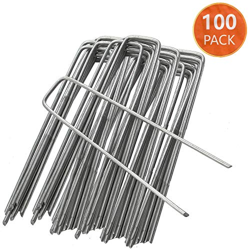 ARVO Garden Pegs 100 Pack Securing Lawn Staples U Shaped Nail Weed Fabric Stakes Galvanised Hot Dipped Rust Free 150mm/6 Inch Pack of 100