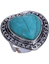YAZILIND Jewelry Vintage Rimous Red Irregular Turquoise Tibetan Silver Striking Adjustable Ring wkjIPcN