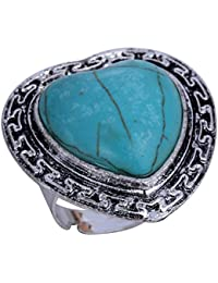 YAZILIND Jewelry Vintage Rimous Red Irregular Turquoise Tibetan Silver Striking Adjustable Ring