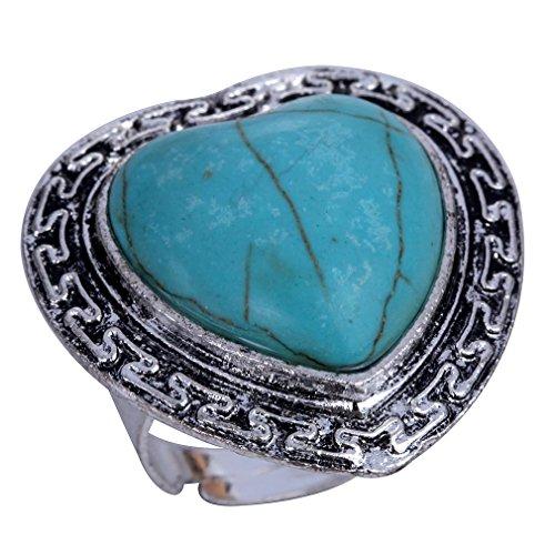 YAZILIND tallada coraz¨®n turquesa de plata tibetana llamativo anillo ajustable para