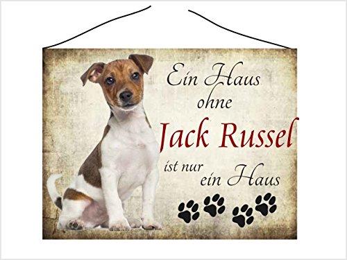 """Türschild Vintage Schild kratzfest Dekoschild Hundedeko Wandschild Nostalgie Holzschild Geschenk - """"Jack Russel"""""""