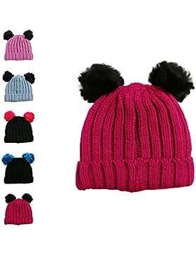 Gorro tejido de invierno para niña con pompón individual y doble 2 Pom Pom Hat Magenta&black