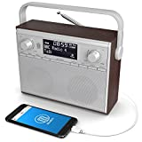 Impington DAB/DAB+ Digital & FM Portable Radio with Wireless Bluetooth Connectivity - Stereo Sound / AUX In-put / Alarm Clock / Wood Finish / Mains Powered