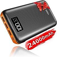 KEDRON Powerbank 24000mAh Externer Akku mit Dual Input und 3 Ausgänge hohe Kapazität Tragbares Ladegerät Power Bank Handy für Smartphones-Orange