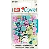 PrymLove Forme de cœur Non-Sew colorsnaps fermoirs, en Plastique, Rose/Vert pâle/Bleu Clair, 12,4mm, 30Pièces