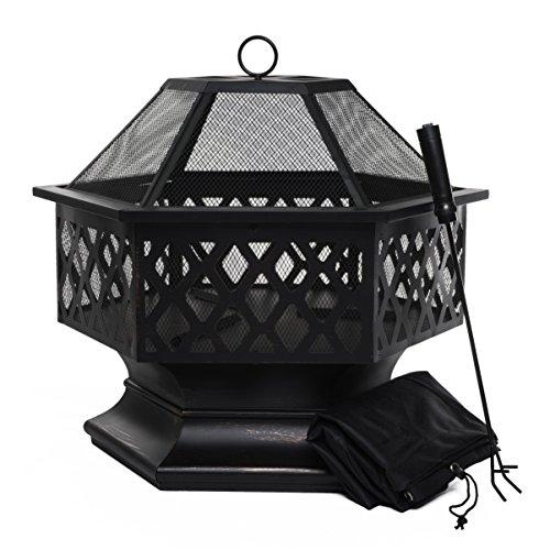 Brasero de exterior, Hoguera hexagonal para el jardín, patio o la terraza,...