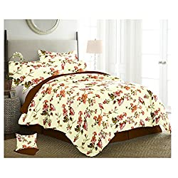 The Intellect Bazaar 150 TC Cotton Double Bed Sheet With 2 Pillow Covers,Orange