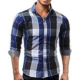 VRTURK VRTUR Trachtenhemden für Herren Kariertes Langarmhemd mit Krempelarm - Fitted Herren-Hemd,Hemd,Trachten-Hemd(X-Large,Blau)