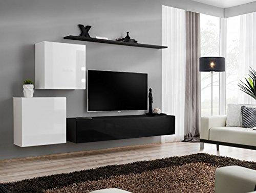 Cuarnan mobile soggiorno moderno sospeso. Tutto bianco.