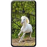 Fancy A Snuggle - Custodia rigida per telefoni cellulari, con cavalli bianchi, plastica, Purebred Horse Running Field, Nokia Lumia 625