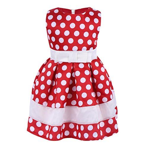 IWEMEK Baby Mädchen Retro Tupfen Geburtstag Bowknot Prinzessin Minnie Kleid Kleinkind Ärmelloses Kleid Karneval Kostüm Partykleid Outfits Rot 12-18 Monate
