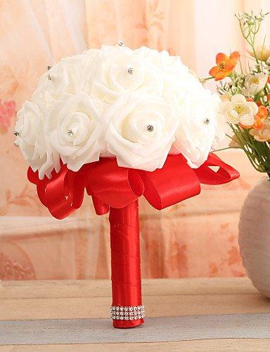 Lnpp bouquet sposa bouquet matrimonio raso elasticizzato 20 cm ca. , ruby