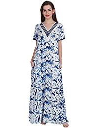 Patrorna Cotton Silk Blend Women s Lace Neckline A-Line Nighty Night Dress  in Blue Print 3f3777dfc