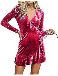 beautyjourney Vestido de Color sólido de Terciopelo con Cuello de Pico para Mujer Vestido de Fiesta de Manga Larga Irregular con Volantes Ocasionales Mini Vestido Bodycon De Clubwear