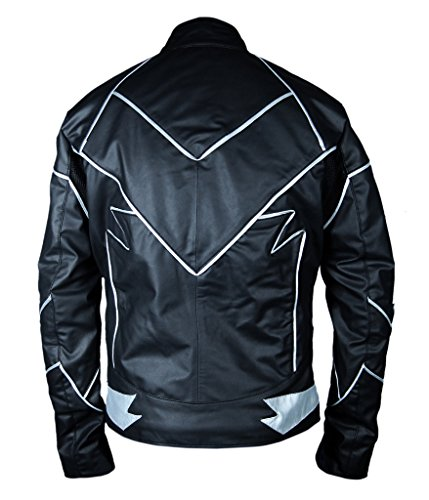 F&H Men's Flash Teddy Sears Hunter Zoloman Zoom Genuine Leather Jacket Black