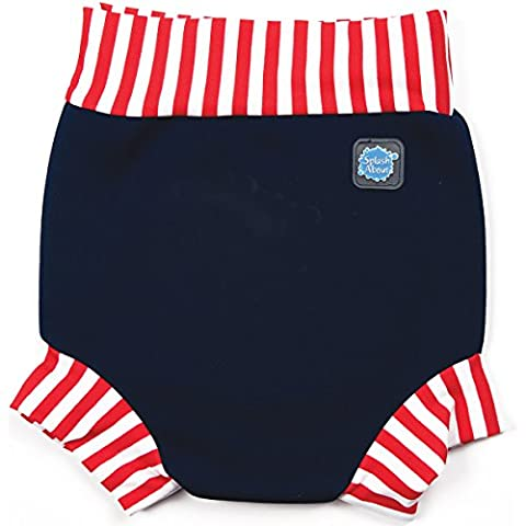 Splash About Kids' Reusable Swim Happy Nappy - Navy/Red Stripe, Large (6-14 Months)