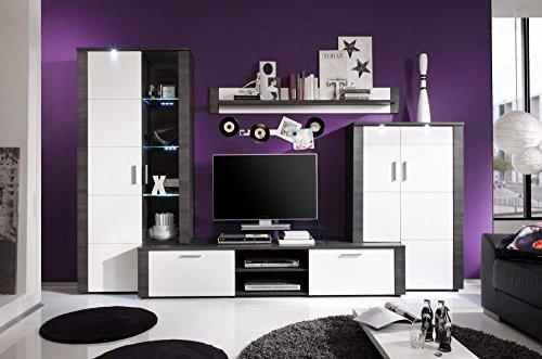 Wohnwand 'Tess', Wohnzimmermöbel, Esche grau, weiß, inkl. Beleuchtung, 4-teilig, 308x197x51cm Size mit Glas TV-Bühne